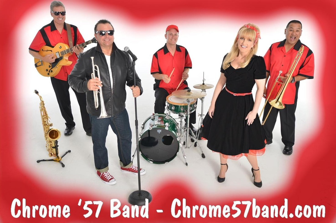 Chrome '57 band, 1950's band Florida, oldies band, Florida, 1950's entertainment Florida, 50s band Florida, sock hop band, fifties band, sock hop.
